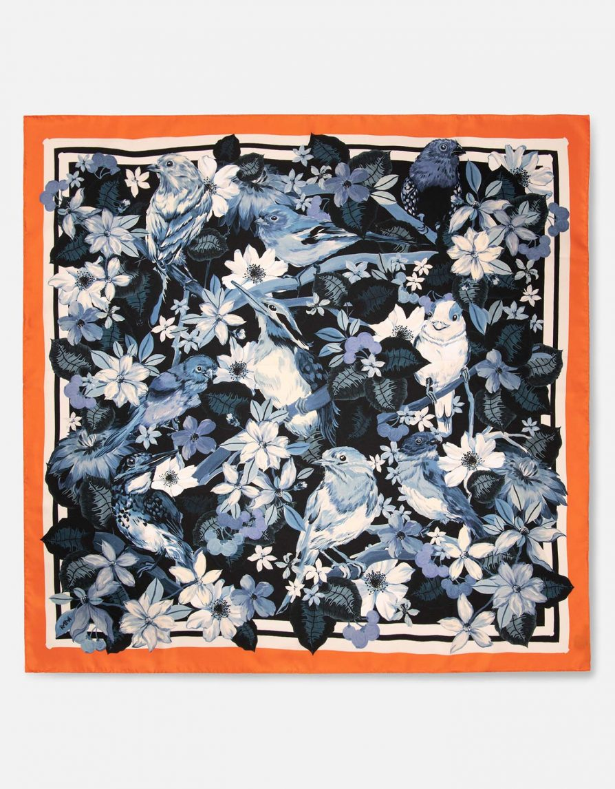Forest Birds with Wobbly Paint Border | Orange Navy Petrol | Classic Silk Twill Square Scarf